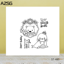 AZSG Lovely Winter Bear Seal Clear Stamps For DIY Scrapbooking/Card Making/Album Decorative Silicone Stamp Crafts