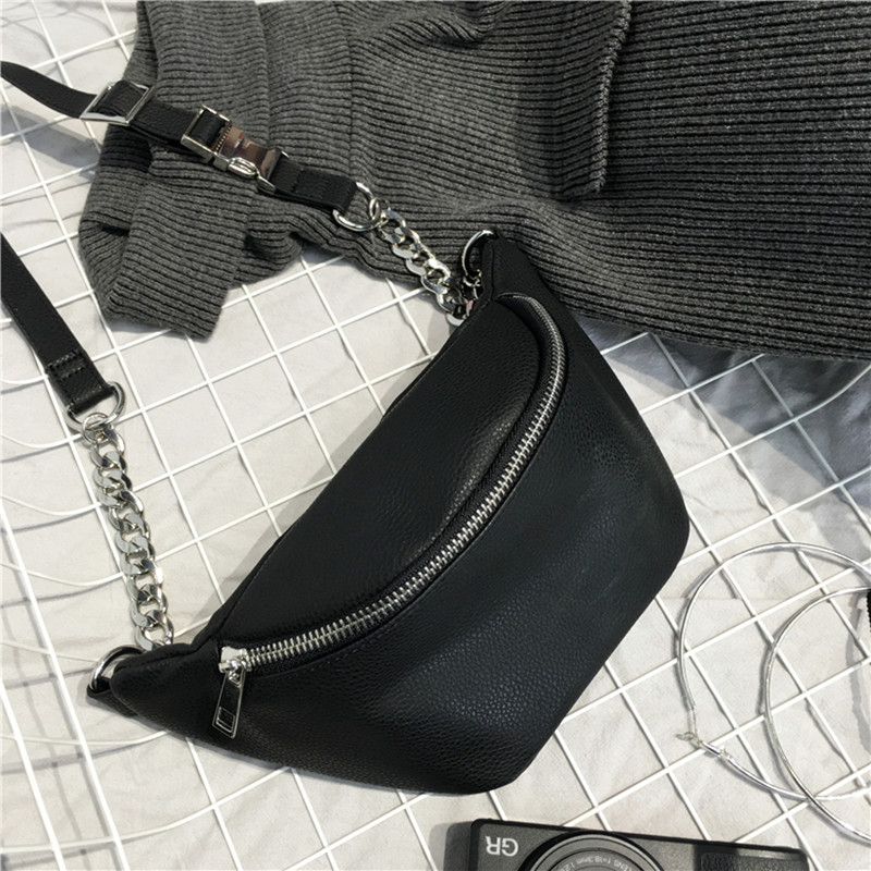 Mode Kette PU Lychee Leder Gürteltasche Tasche Bananka Wasserdichte Diebstahl Frauen Gehen Einkaufen Bauchband gürteltasche