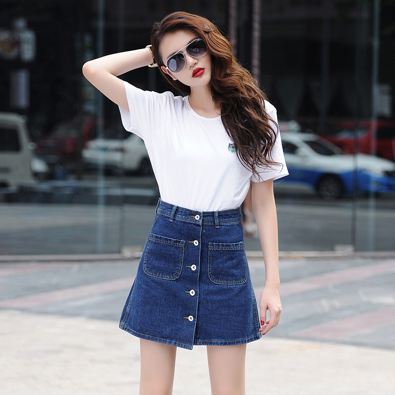 2119d7414 Summer Denim Skirt Women Jeans A Line Short Shirts Sexy Lady Slim Pocket Button  High Waist Skirt Mini Jupe Femme S XXL-in Skirts from Women's Clothing ...