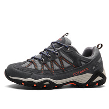 Autumn and winter men's new leather outdoor hiking shoes low to help anti-skid shoes couple style