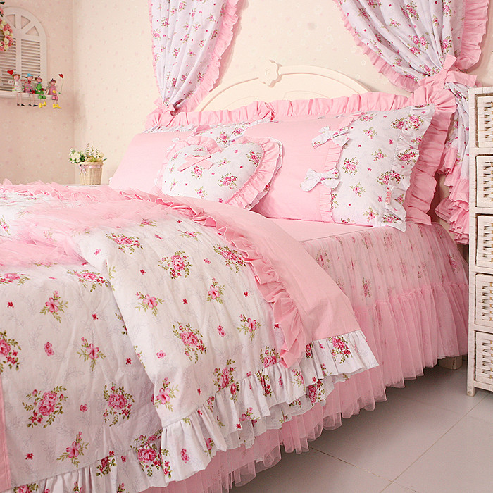 Free Shipping Princess Lace Ruffle Floral Bedding Sets