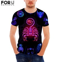 FORUDESIGNS Novelty 12 Constellations Print T-Shirt for Men tshirt Short Sleeve Male Cool O-Neck Tops Tee T-shirt Dropshipping