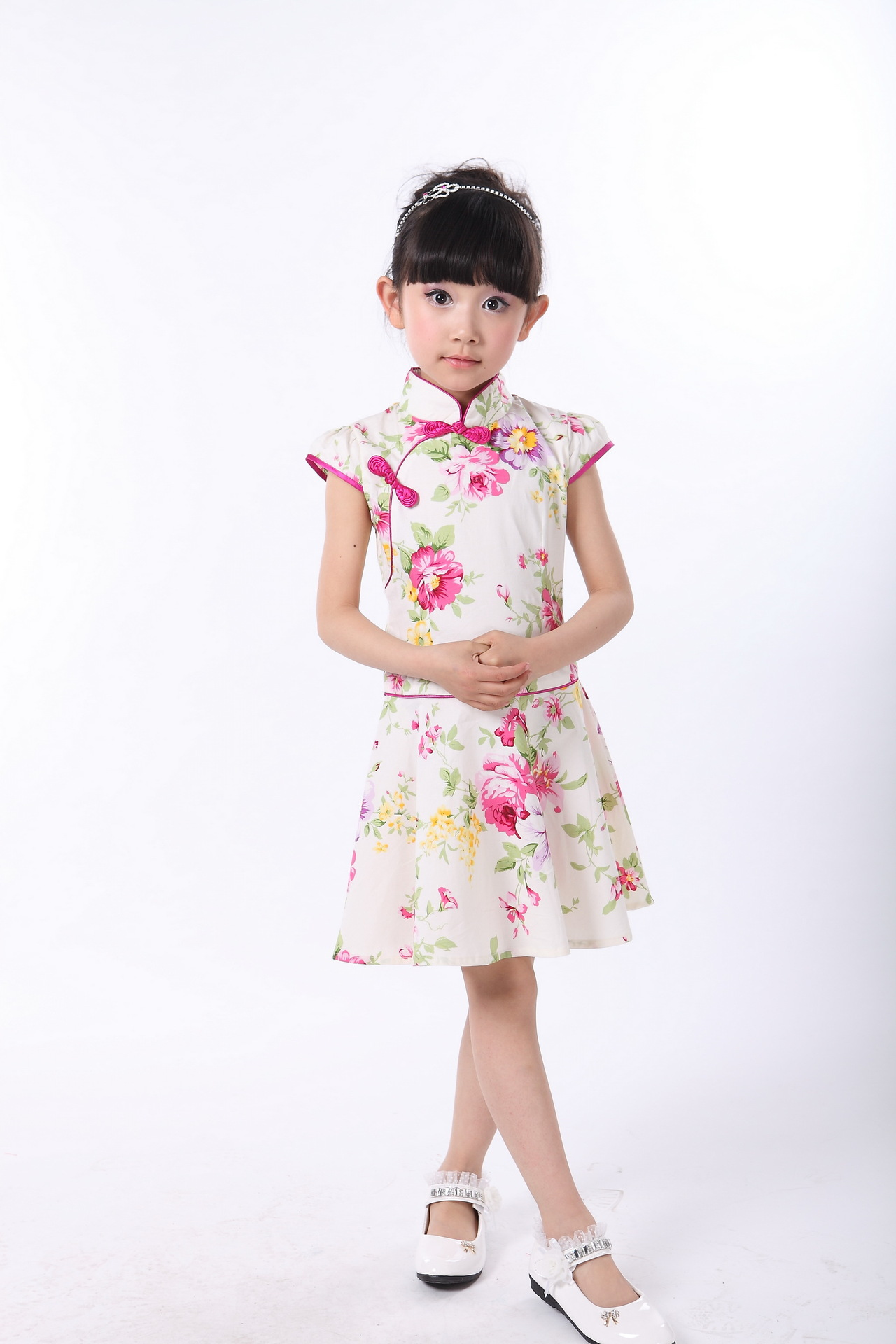 Chinese Style Traditional Girls Embroidery Dress Child Tang Suit