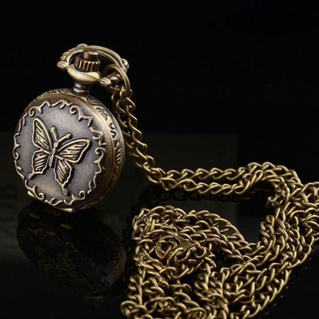 #5001 Retro Butterfly Pocket Watch  Alloy Antique Number Butterfly Pocket Watch With Chain