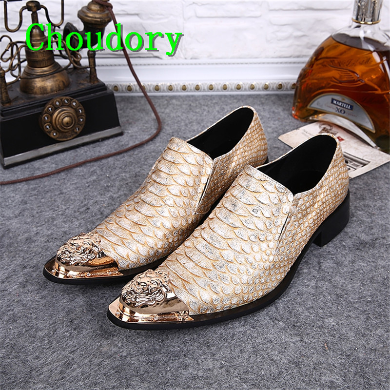 Choudory Pointed Toe Pink Snakeskin Retro Breathable Men Dress Shoes Height Increasing Solid Steel Toe Work Casual Shoes Men