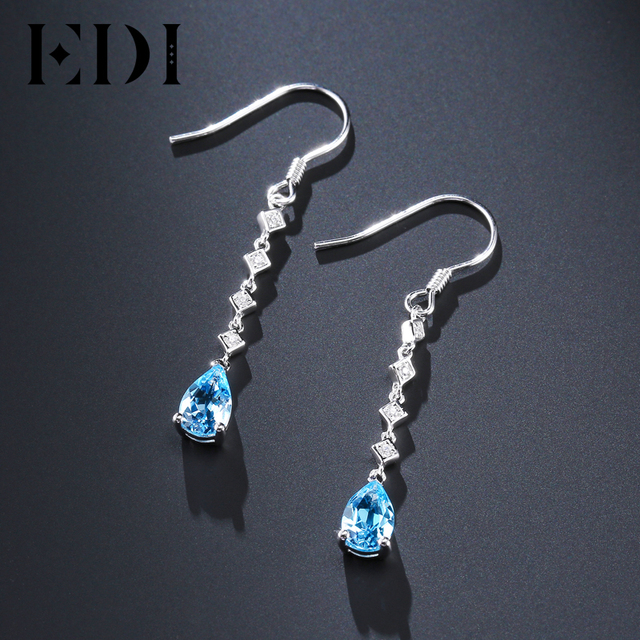 c1b0233a9bc EDI 5 8mm Natural Blue Topaz Female Long Water Drop Earrings 925 Sterling  Silver Jewelry