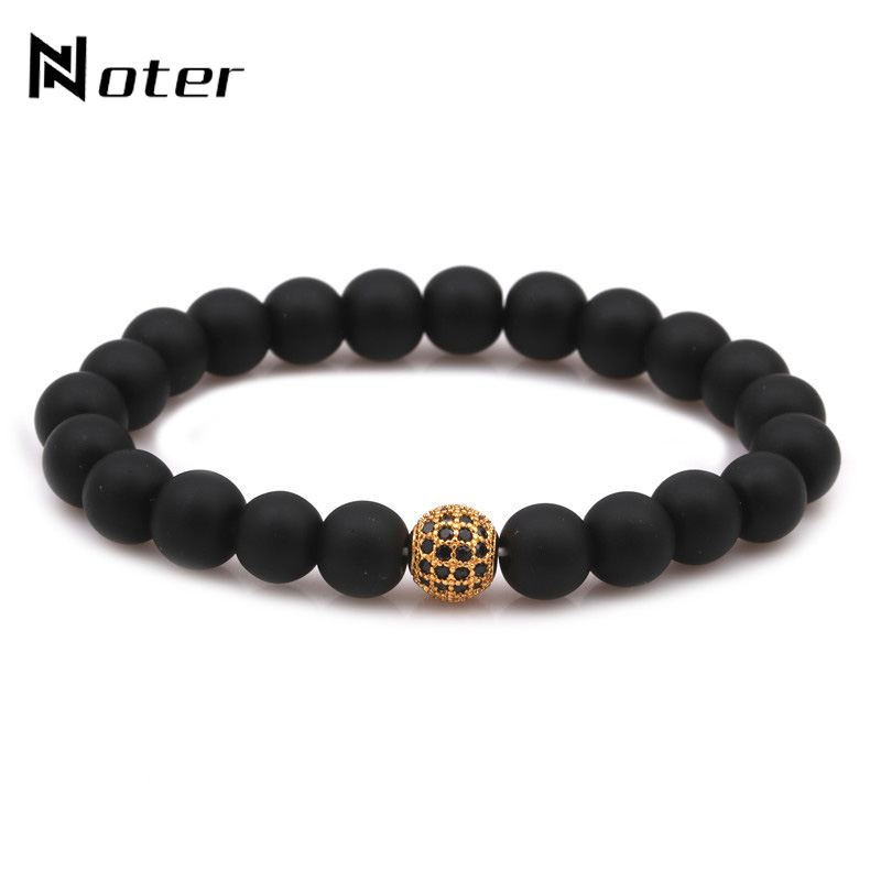Noter Luxury CZ Paved 8mm Matte Beads Bracelet Natural Stone Braclet For Men Women Yoga Bracelet Hand Jewelry Accessories Homme