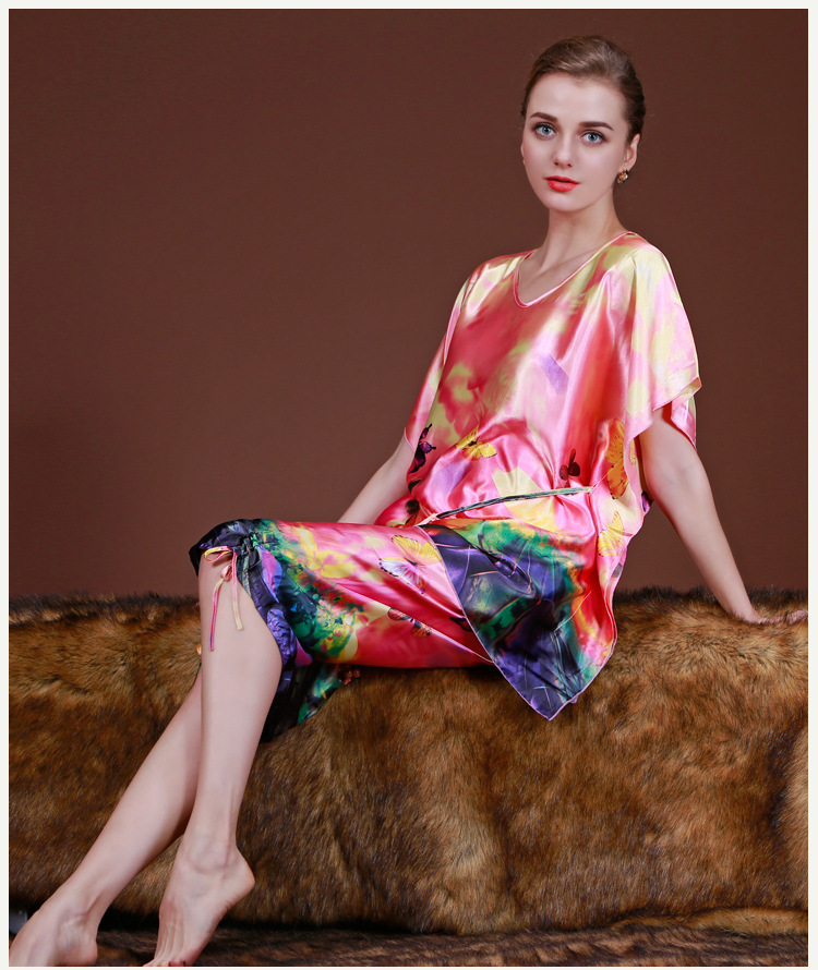 Hot Fashion Women Floral Print   Pajamas   2017 Spring Summer Satin Pijama For Short Sleeve Silk   Pajamas     Sets   Pyjamas For Women