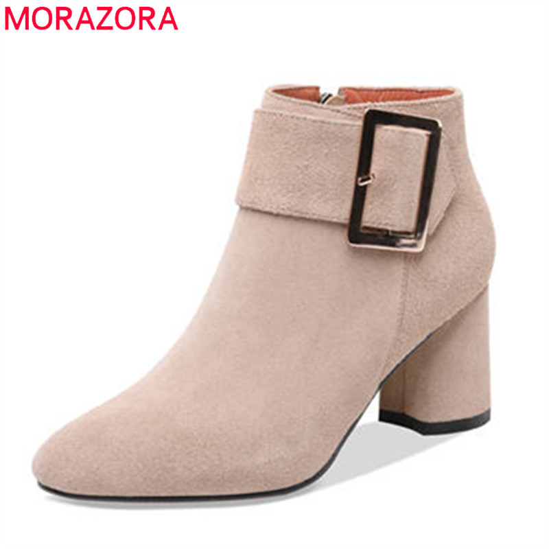 MORAZORA 2018 hot sale round toe short plush autumn winter boots zipper suede leather ankle boots for women square heels shoes hot sale short plush chew squeaky pet dog toy