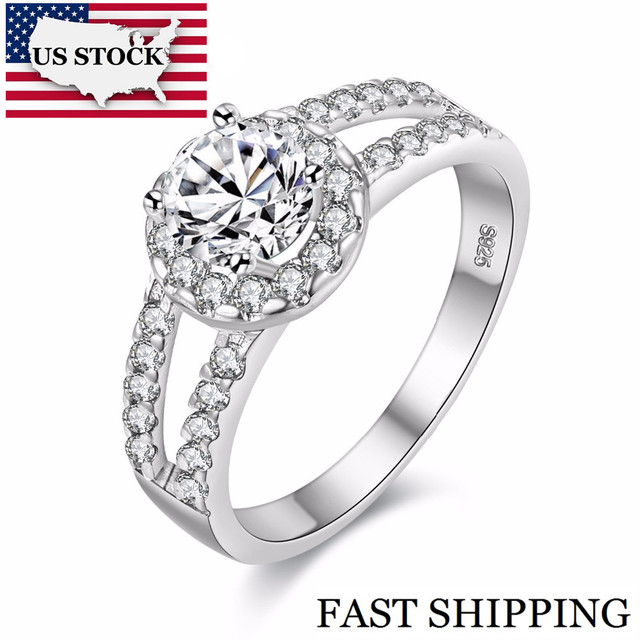 US STOCK 15% off Fashion Wedding Ring Silver Color for Women Charms Ring Rainbow Mystic Vintage Jewelry Bijouterie Uloveido J510