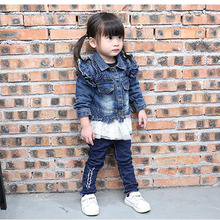 2016 Printemps et Automne version Coréenne de la feuille de lotus dentelle denim manteau loisirs cardigan Enfants de vêtements denim veste