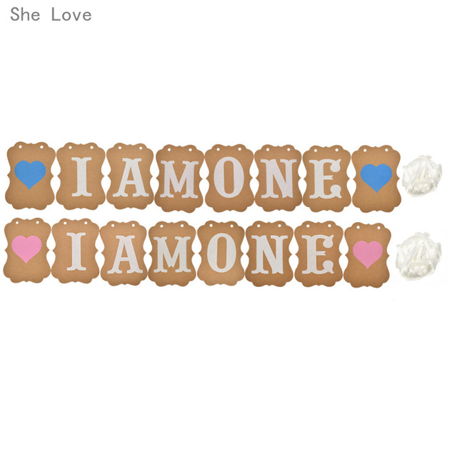 She Love I Am One Banner 1 Years Birthday Decorations 1nd Boy Girl Second Party Supplies