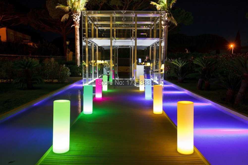 Simple And Unadorned Led Tower Pillar Medium Cylinder Floor Lamp Outdoor Round Column Lights For Mark A Path Private Beach In Landscape Lighting