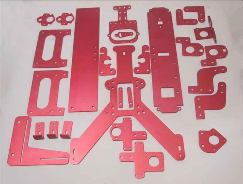 Reprap Mendel Max 2.0 red color complete aluminum plates set/kit(drilled & bended) DIY MendelMax 2.0 3D printer parts