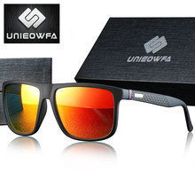 UNIEOWFA-gafas de sol polarizadas para hombre, lentes de sol masculinas de marca de lujo, adecuadas para conducir, UV400, color negro mate, cuadradas, 2019
