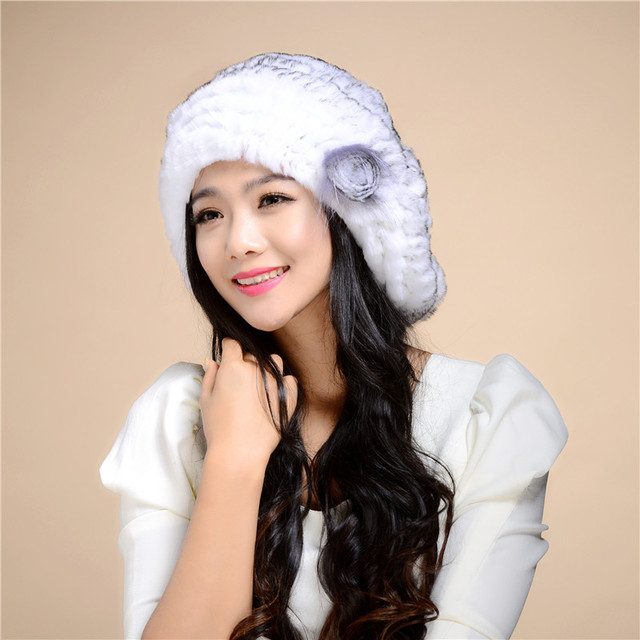 High Quality Natural Rex rabbit hair Fur Beanies for women Winter Women Flower pattern Fur Hats Warm comfortable 8 color#H9031