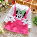 2016 Baby Girls Dress Cute Minnie Long Sleeve Spring Autumn Sport Cotton Princess Style Kids Party Clothing 0-2Years