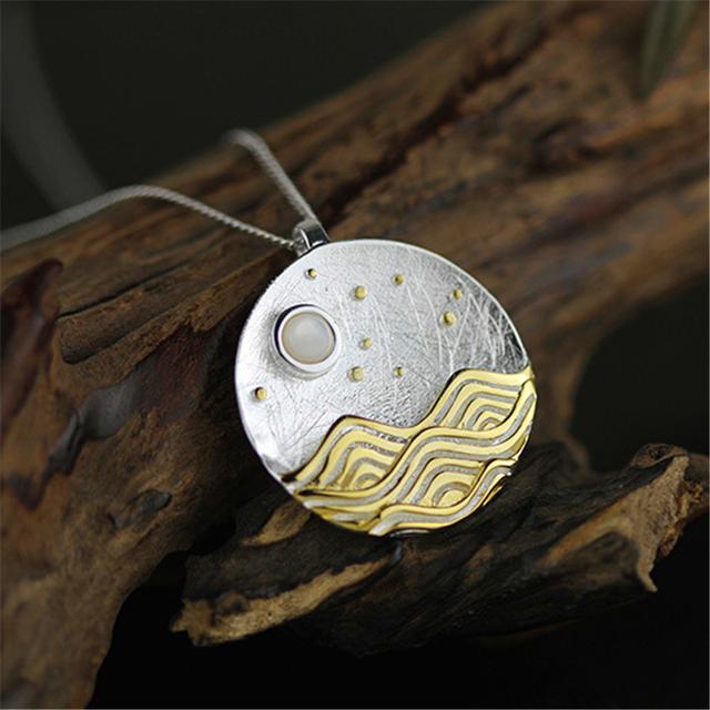 Top quality agradável visão natural sob a luz da lua colar pingente special design de jóias para as mulheres genuine 925 sterling silver