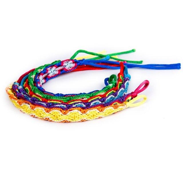 6pcs Colorful Braided Thread Friendship Bracelets Ankle Bracelet Wristband Gift