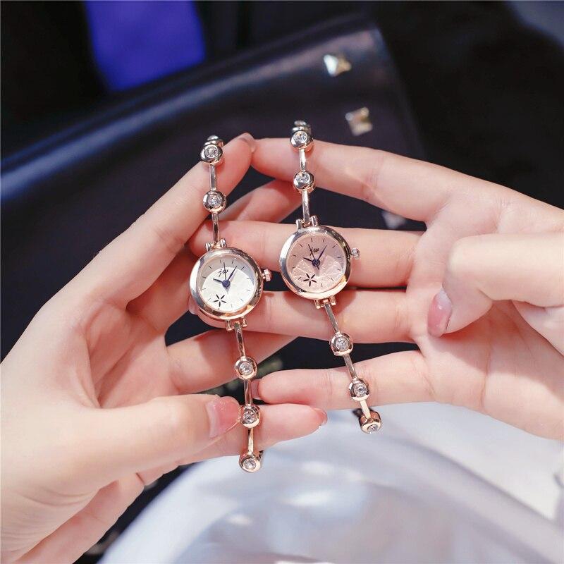 New Rose Gold Bracelet Watches Women Luxury Crystal Dress Wristwatches Clock Women's Fashion Casual Quartz Watch Reloj Mujer