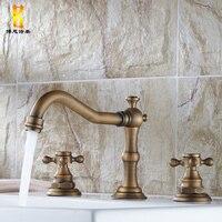 European Antique Kitchen Faucet Bronze Brass Swivel Basin Faucet Double Handles Three Hole Sink Taps Hot