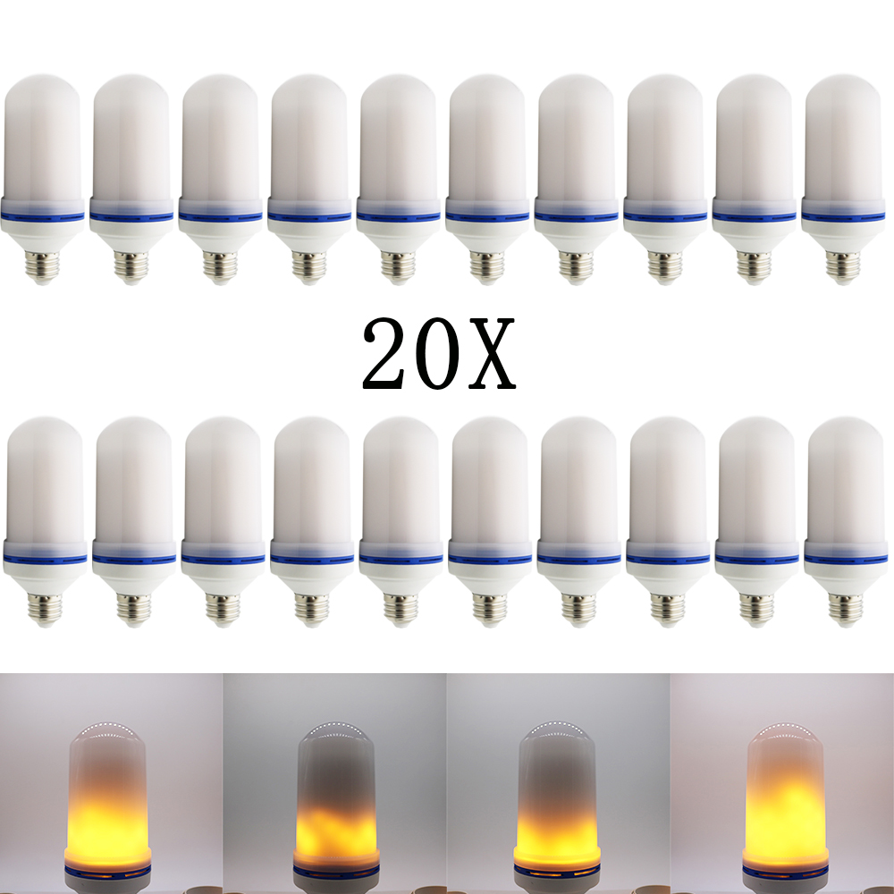 20X New E27E26 AC85-260V 2835 SMD LED flame lamp Flame Decorative Light Effect Fire Corn Bulb Flickering Emulation Night Lights