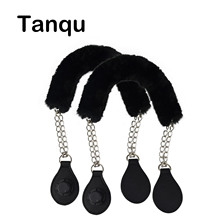 Tanqu Faux Fur Cover Strap Metal Chain Handle with Tear Drop End Double Chain Handle for O Bag for EVA Obag Women Bag