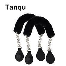 Tanqu Faux Fur Cover Strap metalowy uchwyt łańcuchowy z łezką koniec podwójny łańcuch uchwyt do torby O dla EVA Obag kobiet torba tanie tanio 230g tq-104