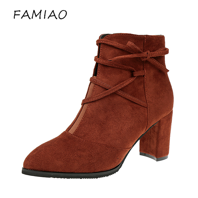 FAMIAO  boots female shoes women Winter ankle boots suede leather point toe zipper sexy square heel grey black short boot matte ladies boots 2017 casual winter black suede round toe square heel ankle boots for women custum large size zipper shoes us 4 15 5