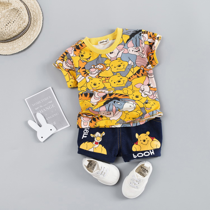Hot Baby Boys Clothing Sets Brand Cartoon Bear Children Summer Boys Girl Clothes Kids Set Cotton T-shit + Short Pants(China)