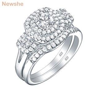 Image 1 - Newsheハロー女性のための 925 スターリングシルバー婚約指輪クラシックジュエリー 1.3 ctラウンドカットaaaキュービッジルコニア