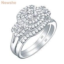 Newshe Conjunto de anillos de boda de Halo para mujer, anillos de compromiso de Plata de Ley 925, joyería clásica de 1,3 Ct, corte redondo, Circonia cúbica AAA