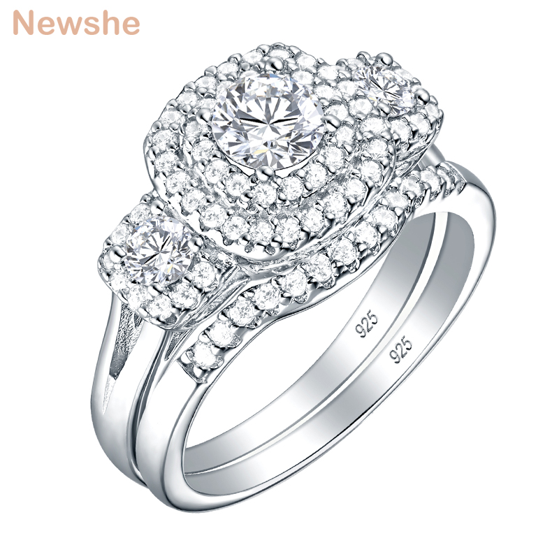 Newshe Halo Wedding Ring Set For Women 925 Sterling Silver Engagement Rings Classic Jewelry 1.3 Ct Round Cut AAA Cubic Zirconia