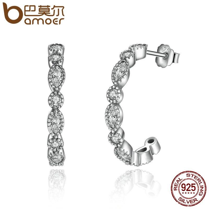 BAMOER Real 925 plata esterlina seductora brillante Marquesa CS pendientes de las mujeres joyería de compromiso Femme Brincos PAS486