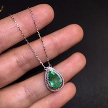 Fine Jewelry AGL Certificate Real 18K White Gold AU750 Natural Green Emerald 1.76ct Gemstones Pendants for Women Necklace