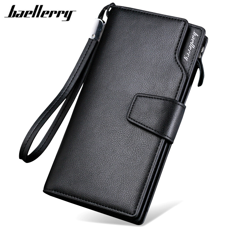 Baellerry 2017 Luxury Brand Men Wallets Long Men Purse Wallet Male Clutch Leather Zipper Wallet Men