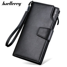 цена на Baellerry 2017 Luxury Brand Men Wallets Long Men Purse Wallet Male Clutch PU Leather Zipper Wallet Men Business Male Wallet Coin