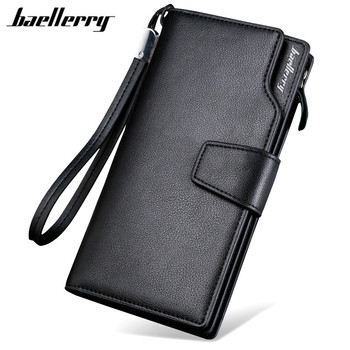 Baellerry 2017 Luxury Brand Men Wallets Long Men Purse Wallet Male Clutch Leather Zipper Wallet Men Business Male Wallet Coin