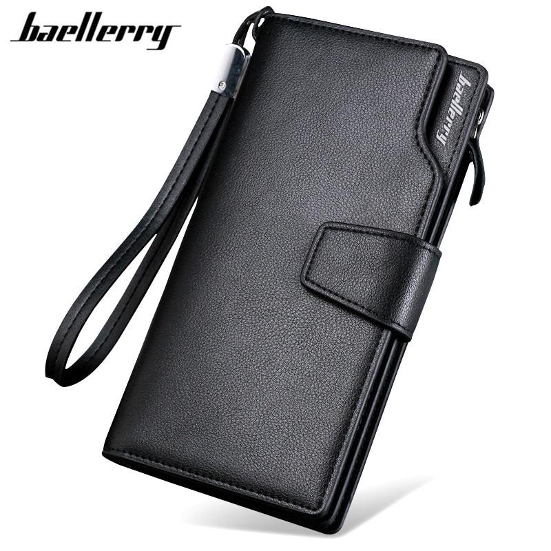 Baellerry Luxury Brand Men's Wallets Men Long Purse Wallet Male Clutch PU Leather Zippers Wallet Men Business Wallet Coin Purse