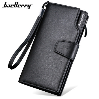 Baellerry Luxury Brand Mens Wallets Men Long Purse Wallet Male Clutch PU Leather Zippers Business Coin
