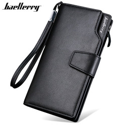 Baellery 2017 marca de luxo carteiras dos homens longo bolsa carteira masculina embreagem couro com zíper carteira negócios masculino carteira moeda