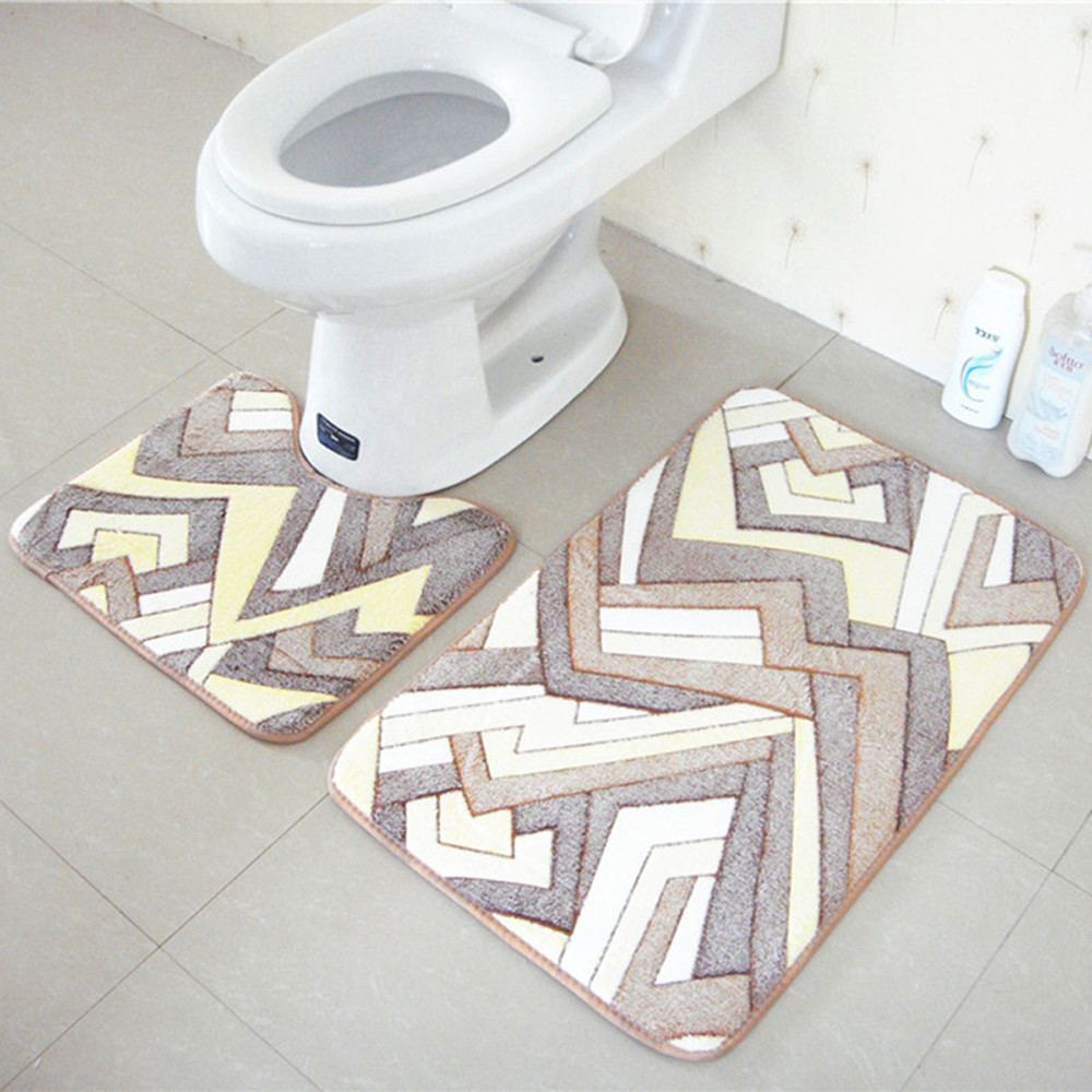 2PCS Rug Memory Foam Bathroom Rug Mat Floor Carpet Set New