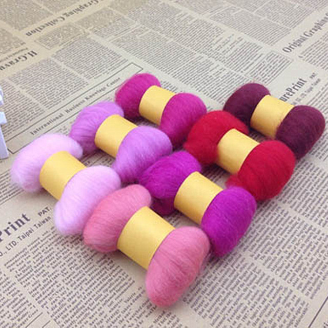 7 Colors 35g Natural Wool Needle Felting Mat Hand Craft Starter Kit for Fun Doll Needlework Raw Hand Spinning DIY Sewing  H009