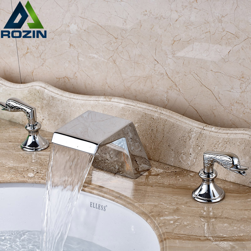 Dual Handle Bathroom Sink Faucet Chrome Finish Waterfall Spout Washing Basin Mixer Taps Deck Mount