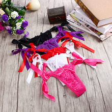 Sexy Bandage G-string Women's Lace Thongs V-string Panties Bowknot Knickers Lingerie Underwear Brief Female T-back White Red