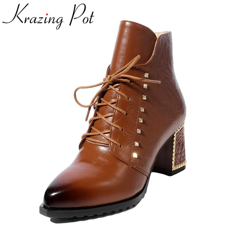 Krazing Pot 2018 new arrival genuine leather round toe thick heel fashion winter shoes runway rivets lace up ankle boots L7f4
