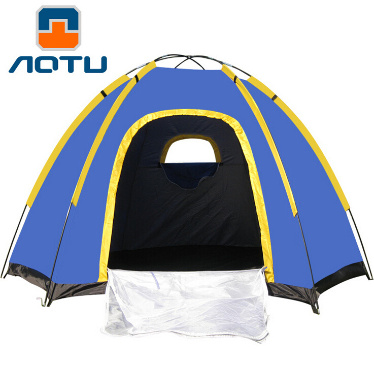 ФОТО AOTU Hexagonal Outdoor Camping Tent for 3-4 Persons Waterproof UV-resistant Portable Travel Sea Beach Tent