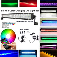 Honzdda 32180W 5D RGB LED Light Bar Strobe Flash Multicolor Led Warning Light Bluetooth APP Control Free wiring Harness