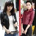 Las mujeres Del Otoño Del Resorte Párrafo Corto Chaqueta de Cuero de Imitación Slim Fit Outwear