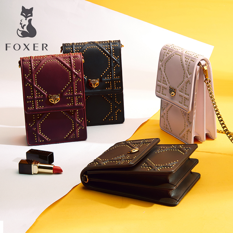 FOXER Brand Women's Leather Crossbody Bag New Fashion Chain Shoulder Bag Cow Leather Messenger Bags For Lady Rivet Bags For Girl female brand hand bag woman messenger bags lady rivet women fashion leather shoulder bag girl crossbody bags